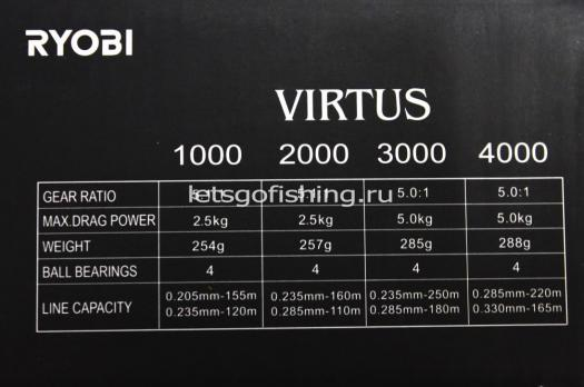 Катушка Virtus 4000 (4+1 BB, 0.235mm-220m; 5.0:1, 288g)